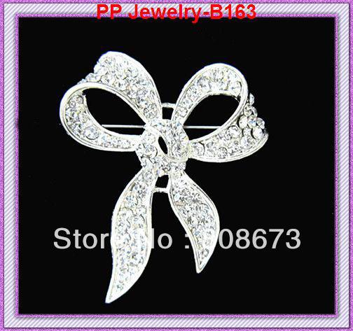 silver tone Clear rhinestone bow luxury brooch for wedding,party.etc  120pcs/lot<br><br>Aliexpress
