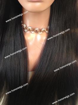 Натуральный черный Intilia яки прямо реми волосы парик 24 inch 26 дюйма парик шнурка с ребенком волос для черных женщин F851 на складе