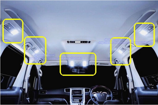 car led interior light bar kit xenon white for 2008 2009 2010 2011 2012 toyota alphard vellfire. Black Bedroom Furniture Sets. Home Design Ideas