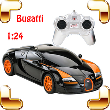 Free Shipping Rastar 47000 1:24 Bugatti Veyron RC Car King Of Road Model LED Light Voiture Auto Vehicle with color Box Best Gift