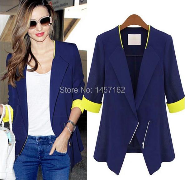Women Spring Blazer Fashion Contrast Color Sleeve Jacket Women's Casual Ladies Slim - Blue Fish Store store