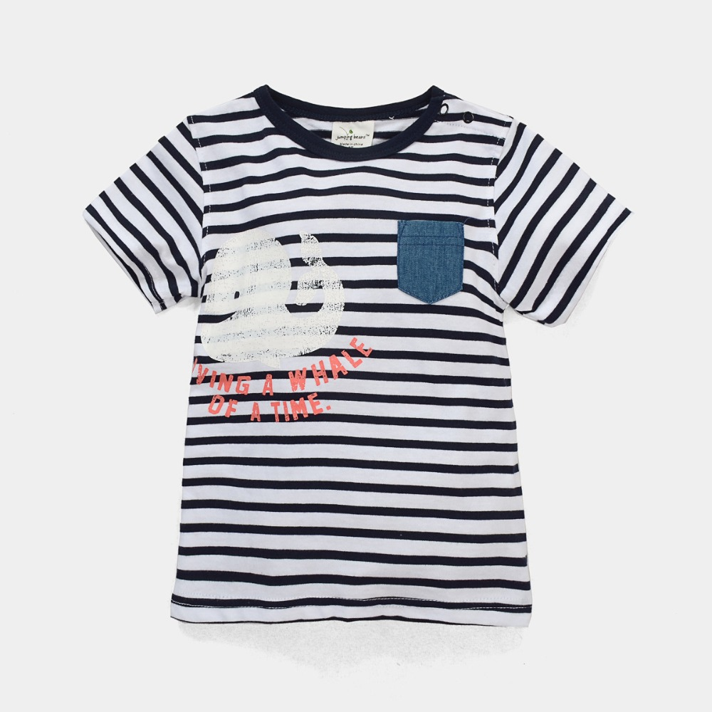 Free Shipping 6pcs/lot Jumping Beans Whale Printed Striped Tees for 18M-6T Baby Boys<br><br>Aliexpress