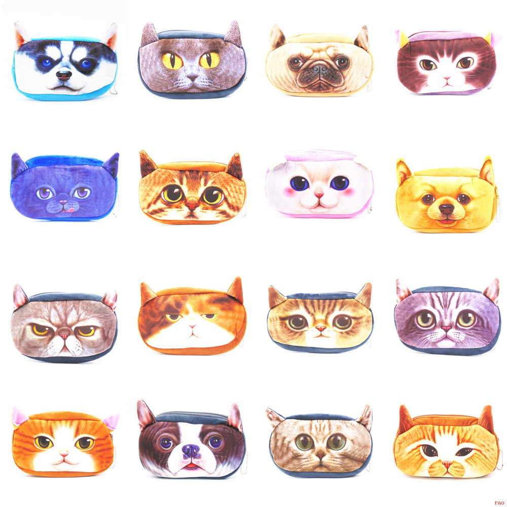 16pcs Cartoon Animal Plush Pencil Holder Storage Pouch Cosmetic Bag Stationery wallet phone package Pencil Cases Bag(China (Mainland))