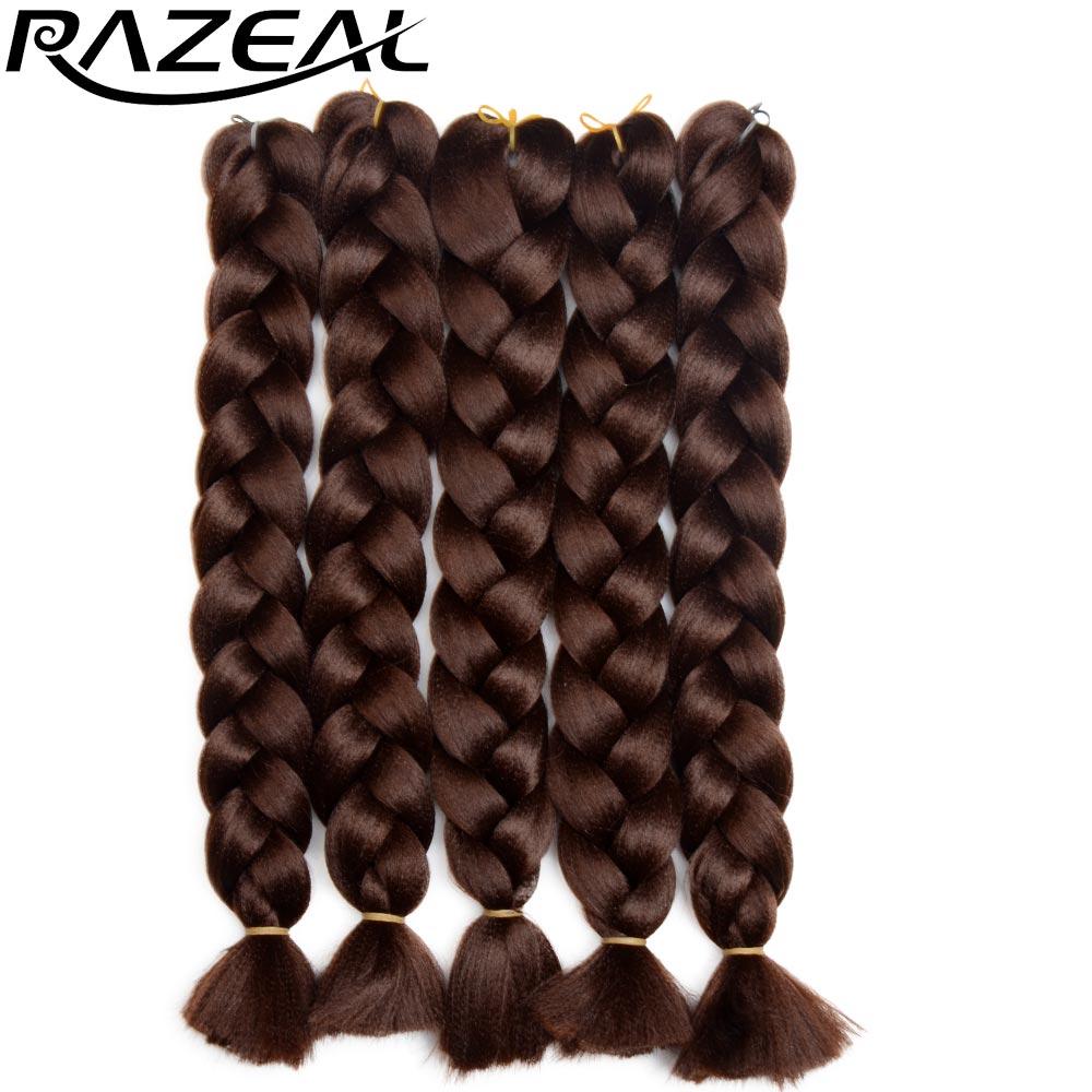 Razeal Jumbo Braid Hair 18 Inch Crotchet Braids Pure Color Expression Synthetic Braiding Hair Black Blond Pink 1pcs/lot(China (Mainland))