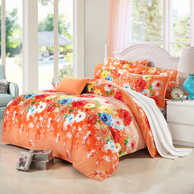 product New Arrival Colorful Bedding Set Comfortable Flower Printed Four Piece And Three Pieces Bedclothes Sets