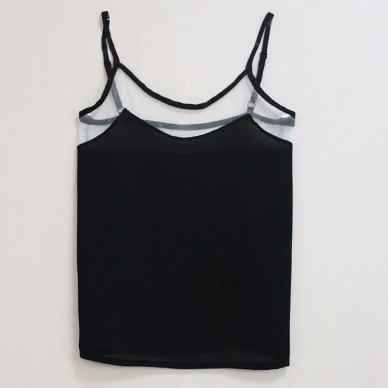 2015 Women Sexy Spaghetti Strap Camisole Chiffon Mesh Patchwork Tank Tops Female Vest Shirts Free Shipping(China (Mainland))