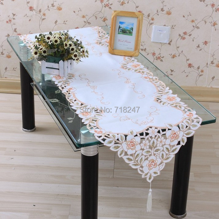 Free Shipping 40*200cm Sale Elegant Polyester Floral Table Runner Embroidery Satin Embroidered Linen Covers Cutwork by Hand(China (Mainland))