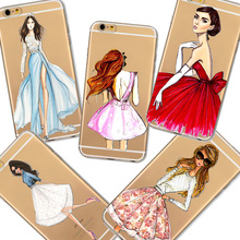 For iPhone 6 6s 4.7inch Phone Case Cover Fashion Wedding Dress Shopping Girl Transparent Soft Silicon Mobile Phone Bag Capa(China (Mainland))