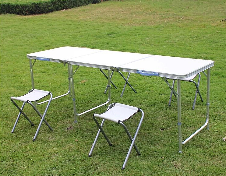 2016 New Wicker Rattan Furniture free Shipping Folding Table Picnic Portable Travel Outdoor Tables (including 4 chairs) 180cm(China (Mainland))