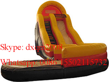 2016 customized commercial inflatable carve wave slide wet pool slide inflatable slip slide with pool(China (Mainland))