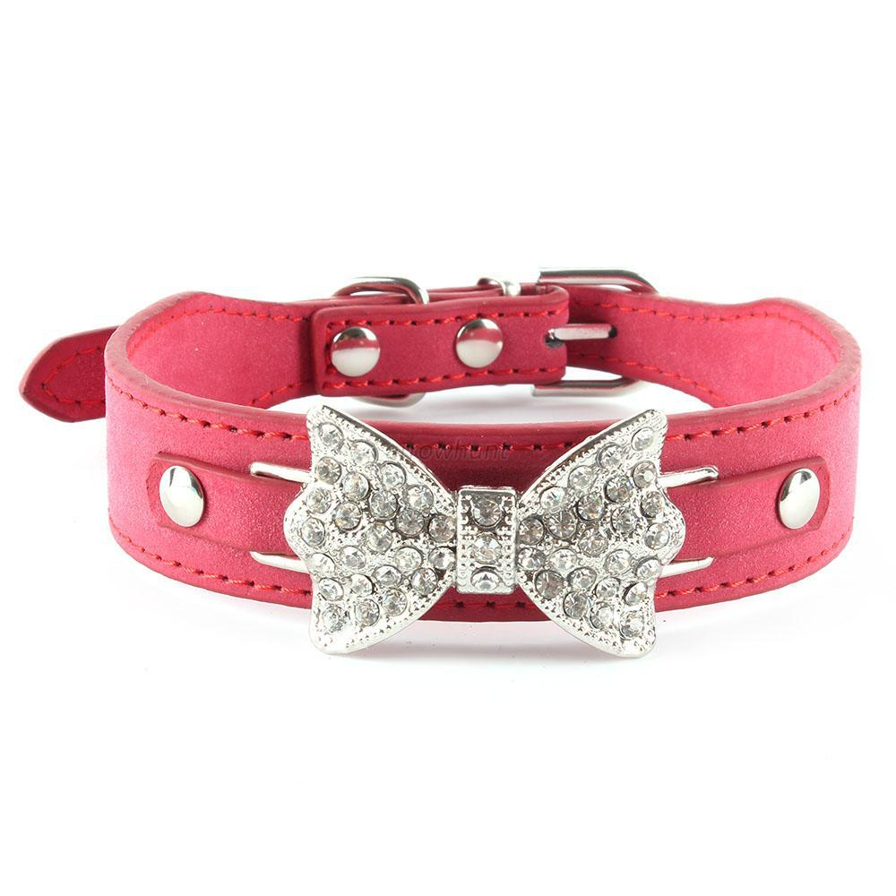 Dog Collar Bling Crystal Bow Leather Pet Collar Puppy Choker Cat Necklace XS S M SHM(China (Mainland))