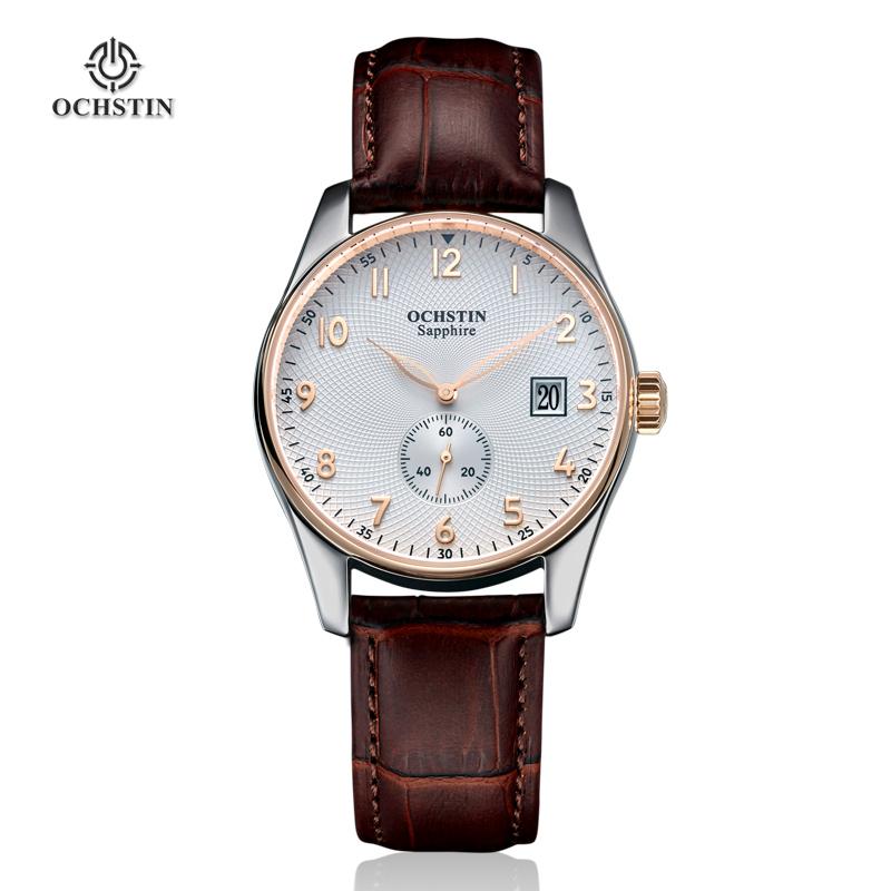 Watches Men 2015 OCHSTIN Fashion Casual Genuine Leather Strap Auto Date Quartz Wrist Watch Men 05B Male Watches Men Brand Luxury(China (Mainland))