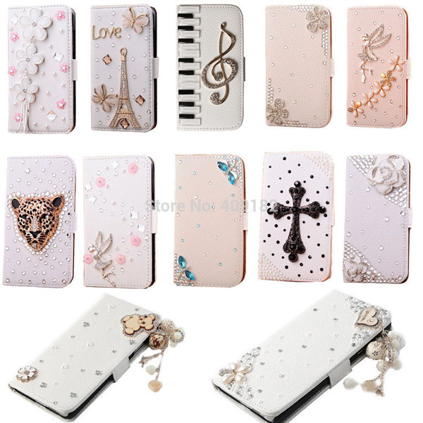 Luxury Premium Leather Flip 3D Bling Rhinestone Diamond Crystal Stand Wallet Case For Samsung Galaxy S3 9300(China (Mainland))