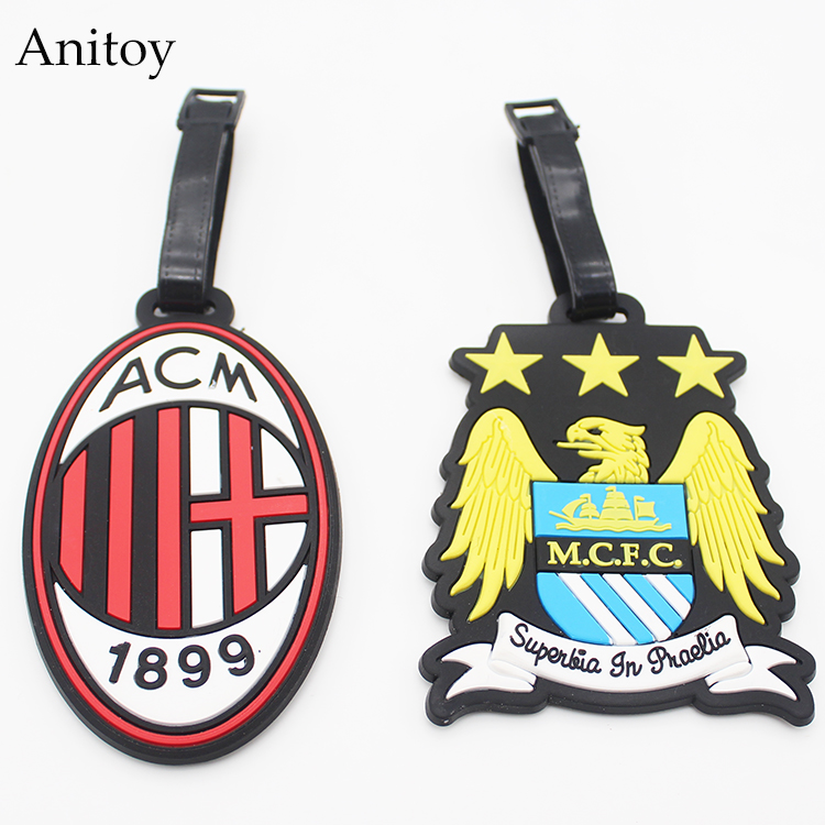 Football M.C.F.C & ACM Logo creative silicone luggage tag pendants hang tags checked brand tourist products KT2693(China (Mainland))