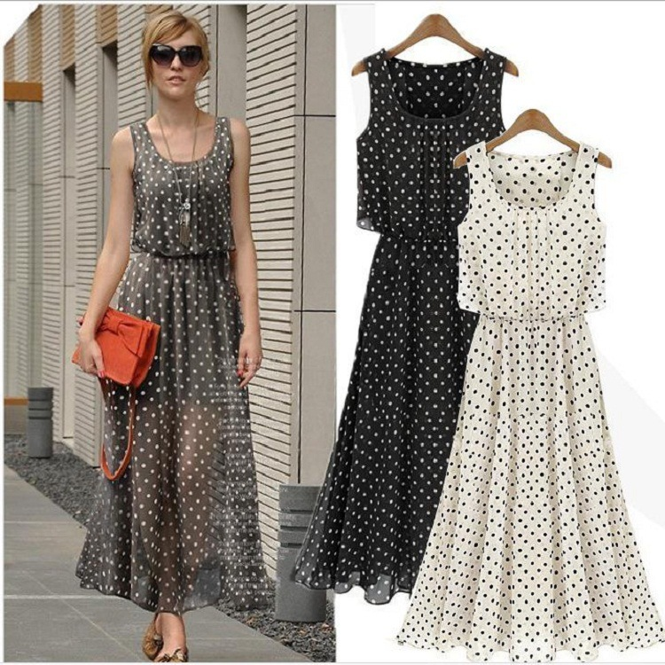 summer dress 2015 Women dress Brand Chiffon Beach party long dresses Dot style vestidos plus size maxi dress clothing HDM02(China (Mainland))