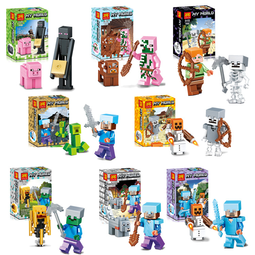 8set/lot Hot Sale Minecraft Toys Minifigures Model Game Juguetes Minecraft Action Figures Safe ABS Gifts for Kids Brinquedos(China (Mainland))