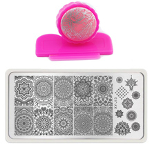 2016 New Fashion Nail Art Templates Set Plates Manicure Round Lace Stainless Nail Art Stamping + DIY Stamper + 1 Scraper Beauty(China (Mainland))