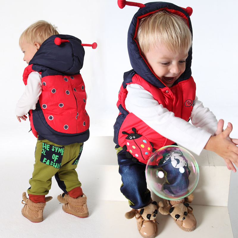 Children Outerwear Winter Coats Kids Clothes Animal Cartoon Warm Hooded Cotton Baby Boys and Girls Vest For Age 2-5 Years Old(China (Mainland))