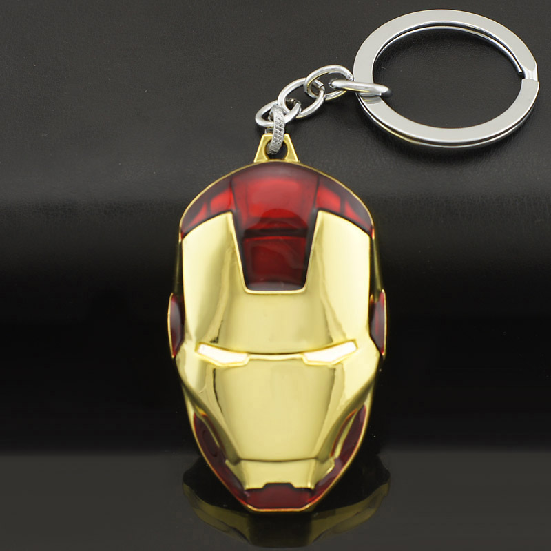 Marvel Comics Super Hero Avengers Iron Man Mask Metal KeyRings Key Chains Purse Bag Buckle Key Holder Accessories Gift K103(China (Mainland))