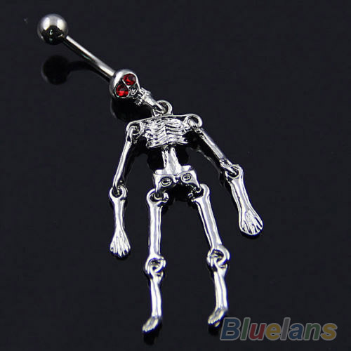 Human Skeleton Ball Button Barbell Bar stainless Belly Navel Ring Body Piercing 02SP(China (Mainland))