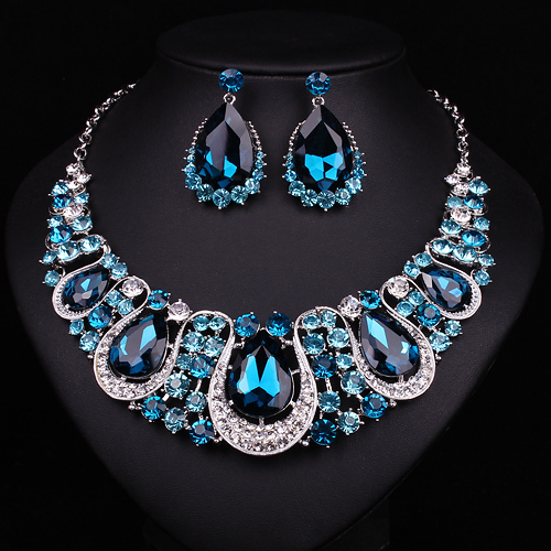 Popular turquoise blue bridal jewelry set big crystal gold filled necklace earring decoration women wedding or birthday gift(China (Mainland))