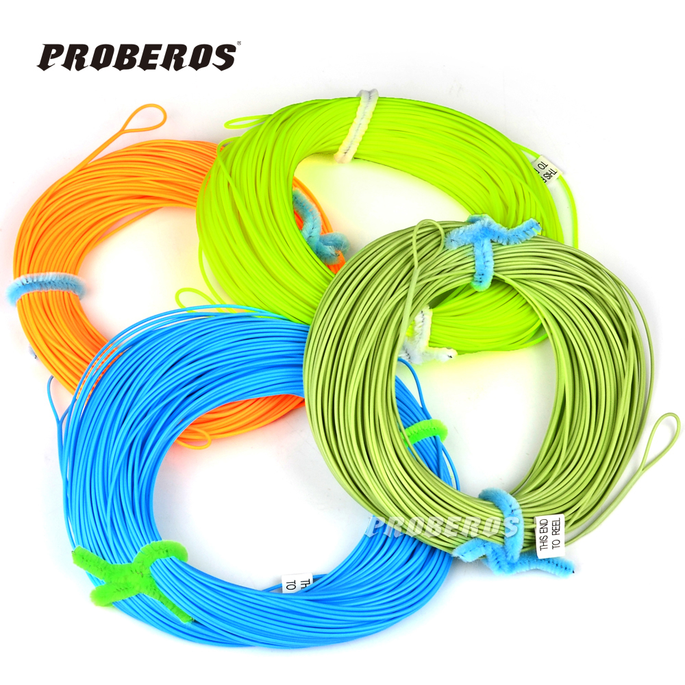 Proberos 100FT Weight Forward Floating Fly Fishing Line WF-2F/3F/4F/5F/6F/7F/8F Fly Line Moss Green/Orange/Fluo Yellow Color(China (Mainland))