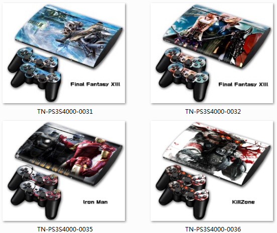100 Pcs Sticker For ps3 4000 Slim skin PVC Protection Skin Cover Sticker For Sony PS3 System Console+2 Controller(China (Mainland))