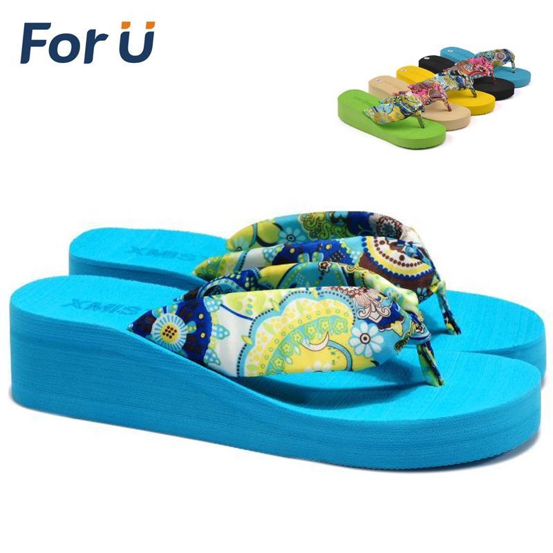 2015 Summer bohemia flower Women flip flops platform wedges women sandals platform flip slippers beach shoes(China (Mainland))