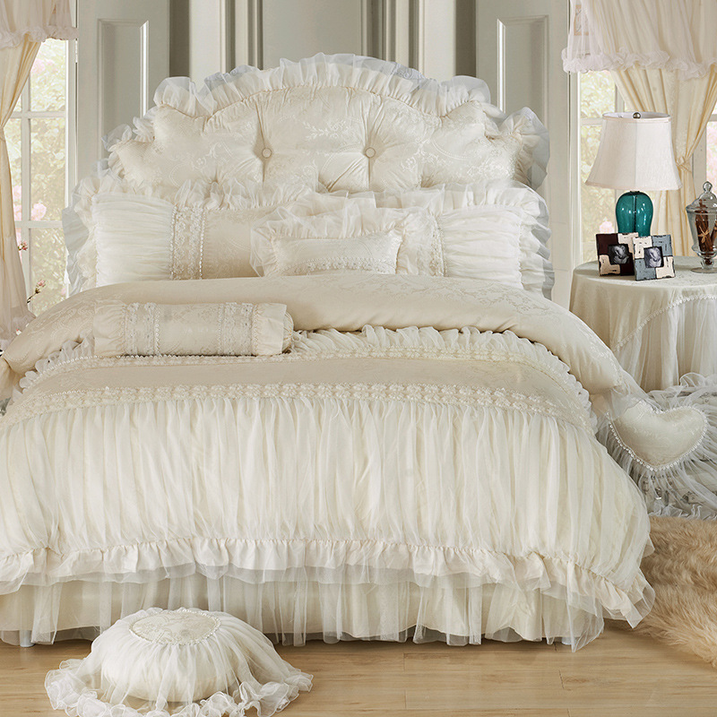 Wholesale Luxury Lace Ruffle Bedding Set Twin Queen King