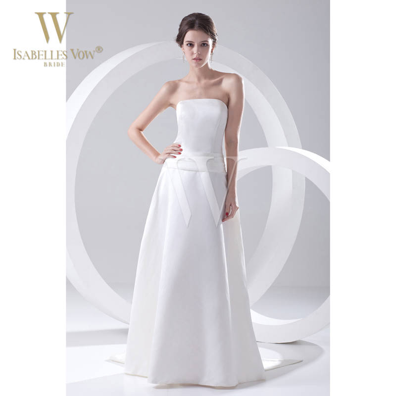 Summer style wedding dress white off the shoulder satin a for Strapless summer wedding dresses