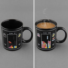 Block Pattern Magical Heat Sensitive Color Changing Ceramic Milk Mug Coffee Cup Free shipping