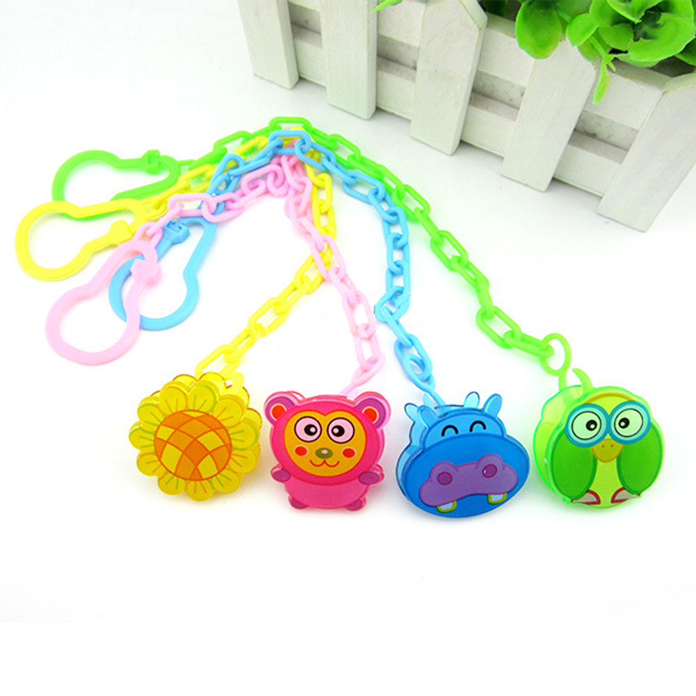 Baby Pacifier Chain Clip Animal Cartoon Baby Pacifier Anti lost Dummy Clip Baby Soother Holder 3 Colors Available