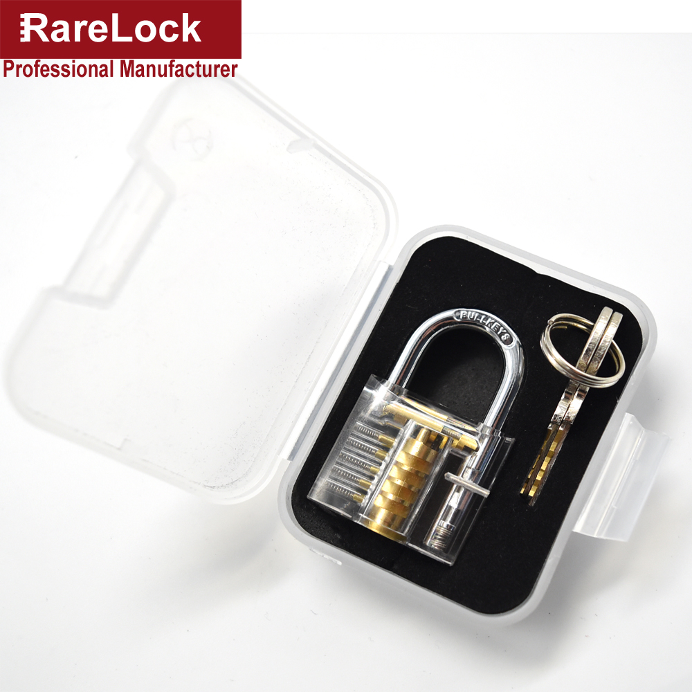 Rarelock Furniture Transparent Lock Visible Cutaway Practice Padlock Training Pick Skill For Locksmith with Brass Keys