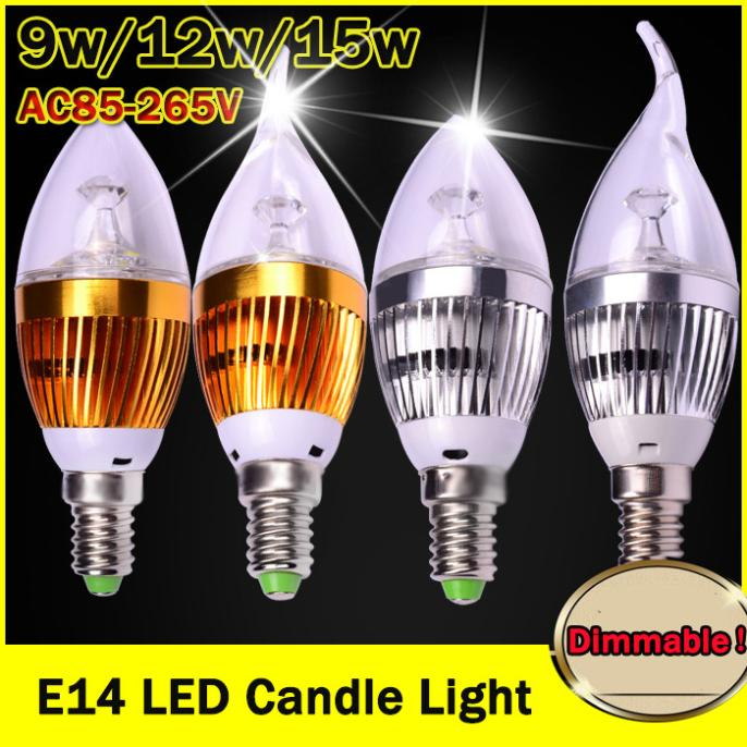 Free shipping High power CREE Led Lamp Dimmable E14 9W 12W 15W 85-265V Led Candle Light Spotlight led Light Bulbs lighting(China (Mainland))