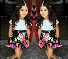 2015 Summer new Girls clothing set Baby Girl s clothing sets Fashion Children dresses kids flower