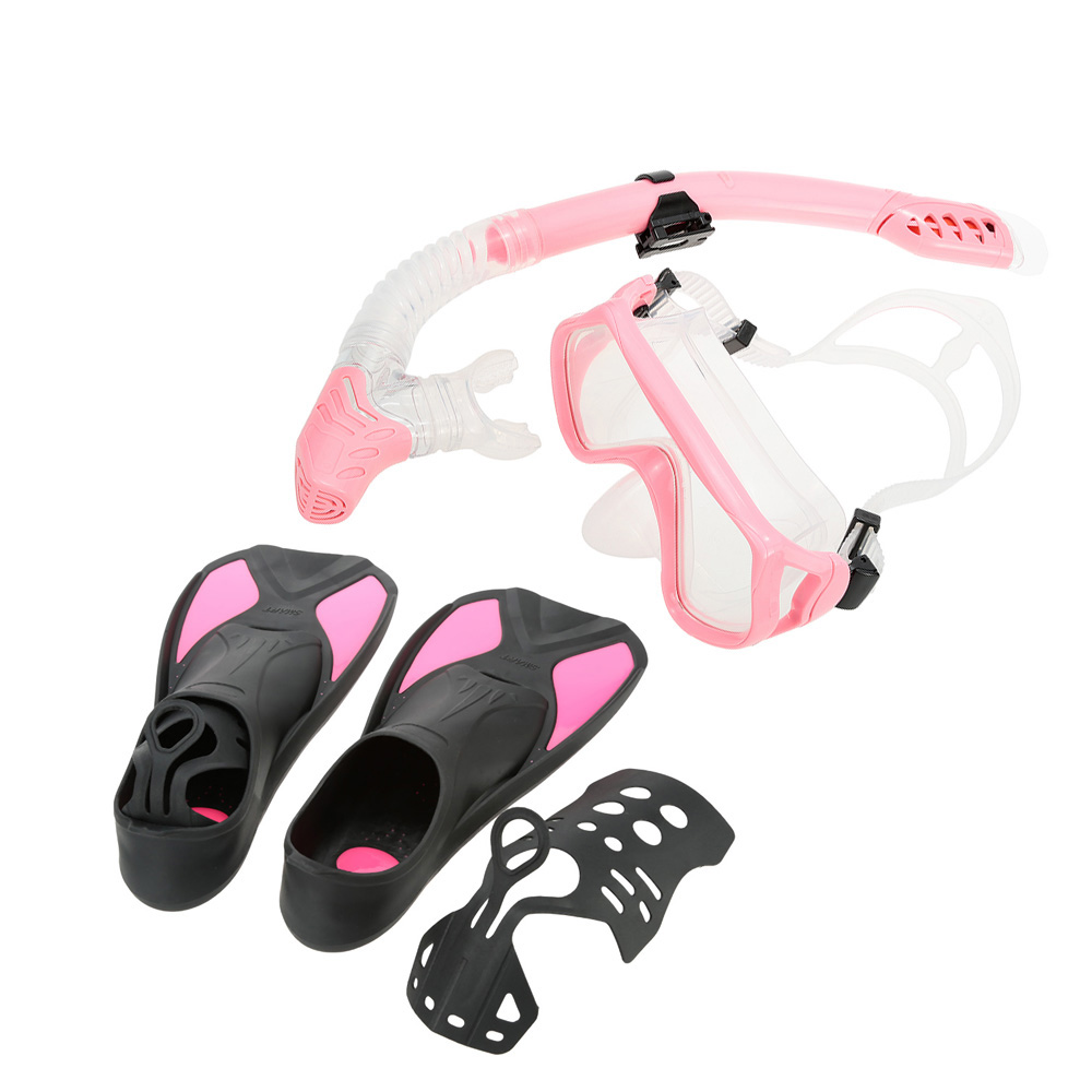 Professional Scuba Diving Mask Snorkel Glasses Set Tempered Glass Diving Mask Goggles +Full Dry Snorkel Tube + Fins Foot Flipper(China (Mainland))