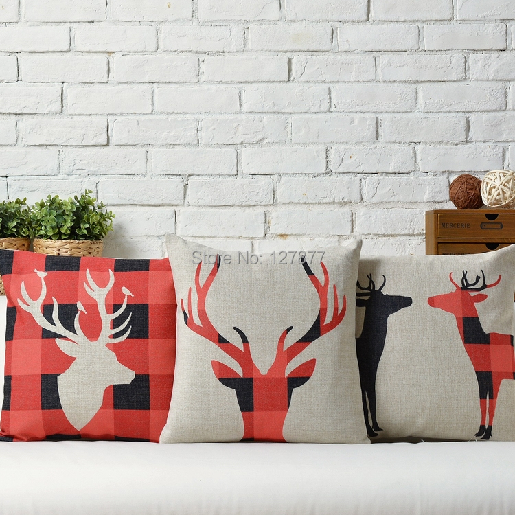 2014 new Nordic literary Cushions Home Decor elk Scottish font b tartan b font Seat Cushion