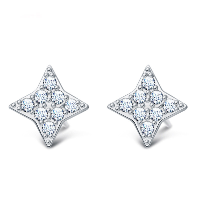 fashion 925 sterling silver 18K gold plated stud earrings jewelry top quality exquisite crystal 4 point star for women girls(China (Mainland))