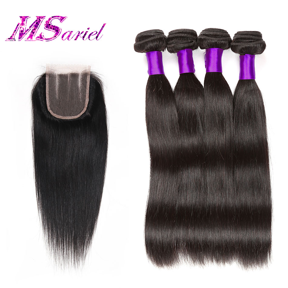 7A Grade Brazilian Straight Hair With Closure 3Pcs Brazilian Hair Weave Bundles With Closure Cheap Human Hair With Lace Closure