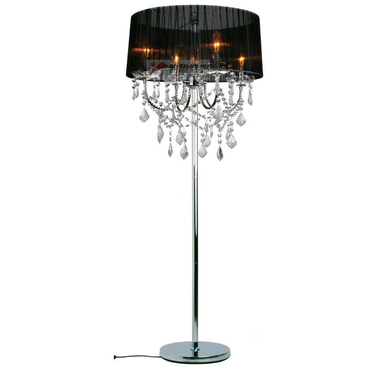 living room floor lamp european fabric lampshade crystal hanging. Black Bedroom Furniture Sets. Home Design Ideas