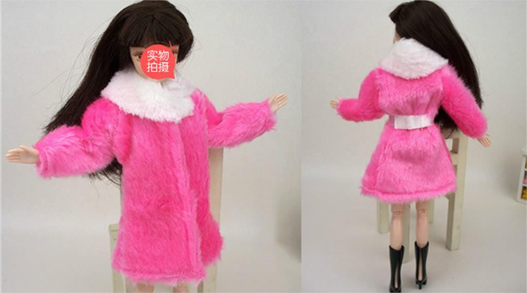 Children Toy Doll Equipment Winter Heat Put on Pink Fur Coat Mini Garments For Barbie Dolls Fur Doll Clothes With Waist Belt