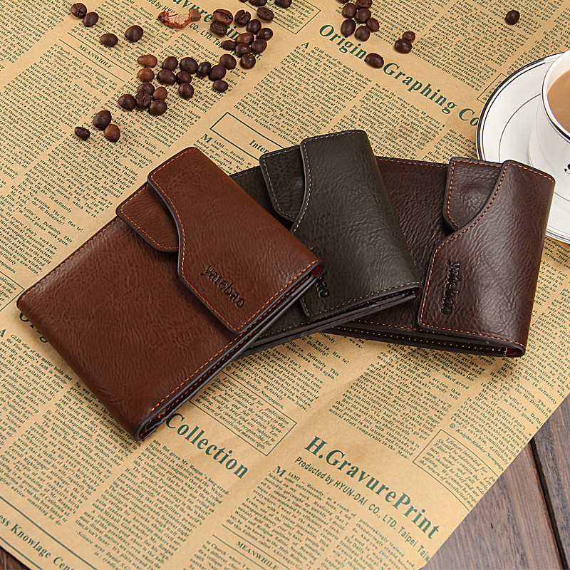 Men Genuine Leather Wallet Fashion Business Man Wallets Vintage Leather Purse 2015 New Style Small Carteiras