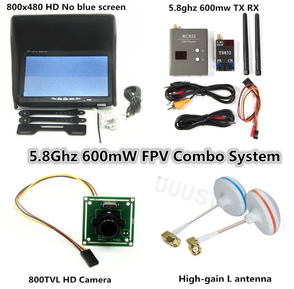 Long range FPV Combo System 5.8Ghz 600mw Transmitter Receiver No blue 800x480 Monitor xiao yi Gopro SJ4000 DJI Phantom QAV250