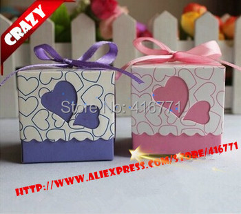 200pcs/lot Hot Sell Small Size 5*5*5cm Wedding And Party Candy Boxes Available Purple & Pink Color Options Free Shipping