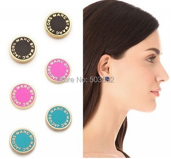 hot high quality 2015 new women's woman fashion designer brand MarcbyMarcJacobs MJ logo stud earring earrings jewelry ear rings(China (Mainland))