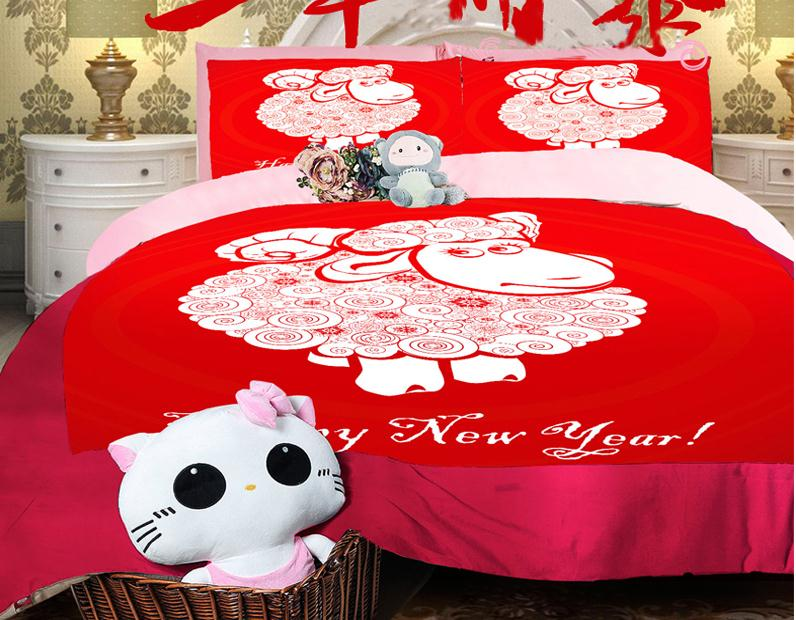 Red comforter sets queen King twin size Duvet cover set Sheep kids girls bedding sets wedding bed set fitted sheet design(China (Mainland))