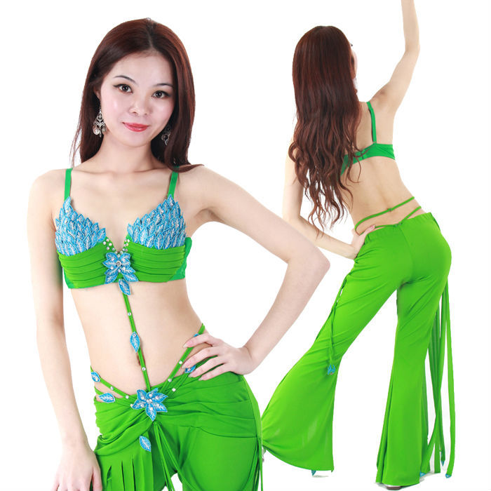 2015 Summer New 2pcs/Set Women Belly Dance Costume Leaves Pattern Sexy Practice Costume Suit Top/Trousers(China (Mainland))