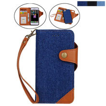 For apple iphone6 Stand Cover New Luxury Flip PU Leather Denim for iphone 6 plus Wallet Case With Card Slot Coque Funda+Lanyard