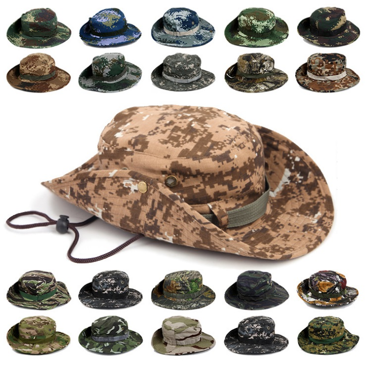 Гаджет  22-Colors Military Camouflage Bucket Hats Jungle Camo Fisherman Hat with Wide Brim Sun Fishing Bucket Hat Camping Hunting Caps None Одежда и аксессуары
