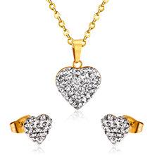 LUXUKISSKIDS זהב לב בצורת תכשיטי לבן בוץ נירוסטה שרשרת עגיל סטי חתונת תכשיטי מתנה(China)